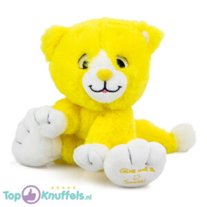 Geel Pluche Knuffel Kat (Give Me A Smile) 20 cm