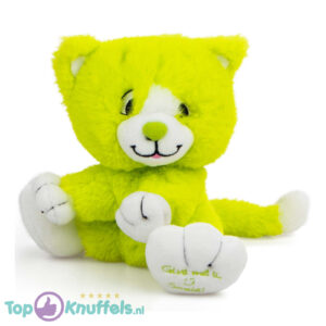 Neon Groen Pluche Knuffel Kat (Give Me A Smile) 20 cm
