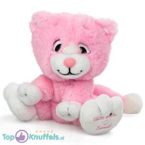 Roze Pluche Knuffel Kat (Give Me A Smile) 20 cm