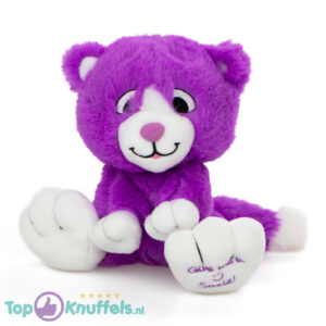 Paars Pluche Knuffel Kat (Give Me A Smile) 20 cm
