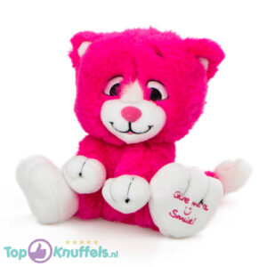 Donkerroze Pluche Knuffel Kat (Give Me A Smile) 20 cm