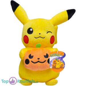 Pokemon Pikachu met Halloween Pompoen Pluche Knuffel 21 cm