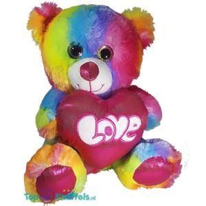 Regenboog Teddybeer met hart 'Love' 25 cm