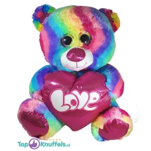 Regenboog Teddybeer met hart 'Love' 33 cm