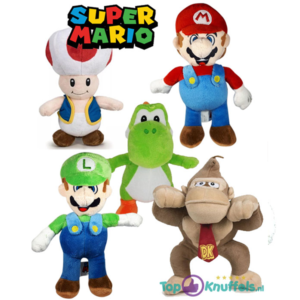 Super Mario Pluche Knuffel Set: Mario + Luigi + Toad + Yoshi + Donkey Kong 22 cm