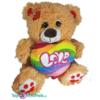 Teddybeer Lichtbruin met regenboog hart 'LOVE' pluche knuffel 25 cm
