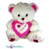 Witte Teddybeer met wit en donker roze hart