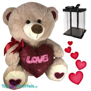 Teddybeer met hart 'Love' (Lichtbruin) 26cm