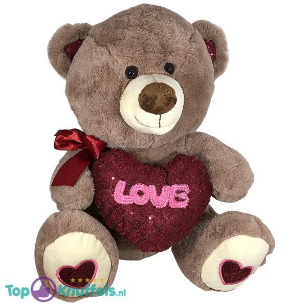 Teddybeer met hart 'Love' (Donkerbruin) 26cm