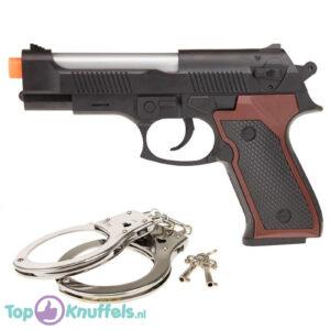 Politie Pistool met licht en geluid + metalen handboeien (Speelgoed voor kinderen) (18 cm)