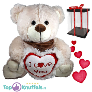 Teddybeer Beige Pluche Knuffel met I Love You