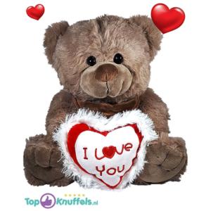 Teddybeer Bruin Pluche Knuffel met I Love You Hart