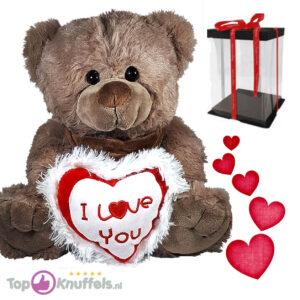 Teddybeer Bruin Pluche Knuffel met I Love You Hart (Wit/Rood) 30 cm + Giftbox met strik