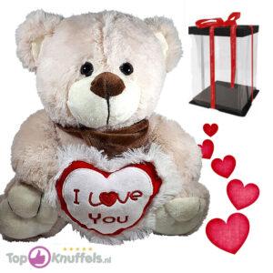 Teddybeer Beige Pluche Knuffel met I Love You Hart (Wit/Rood) 30 cm + Giftbox met strik