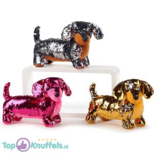 Teckel Hondje Pluche Knuffel Met Glitter Effect 30 cm