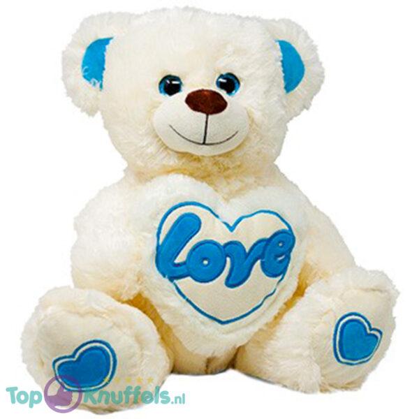 Teddybeer met Love Hart (Wit/Blauw) 30 cm