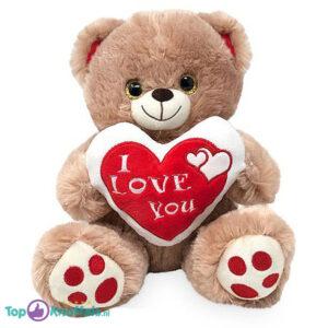 Bruine Teddybeer met Hart ''I Love You'' (Wit/Rood) 32 cm