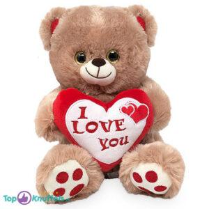 Bruine Teddybeer met Hart ''I Love You'' (Rood/Wit) 32 cm