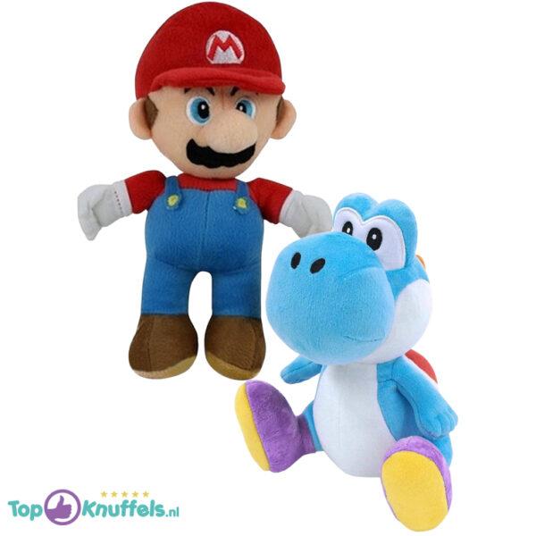 Super Mario + Yoshi Blauw Pluche Knuffel Set (30 cm)