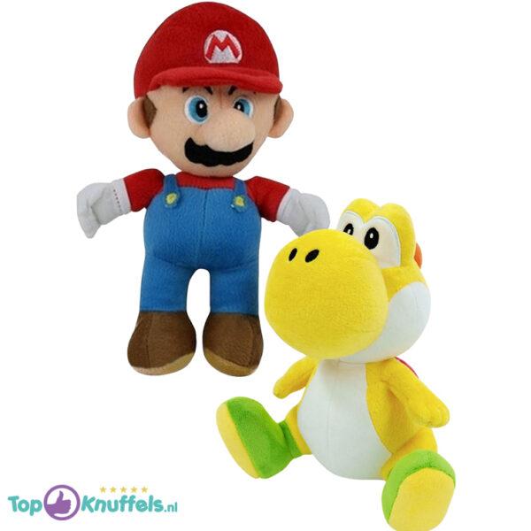 Super Mario + Yoshi Geel Pluche Knuffel Set (30 cm)
