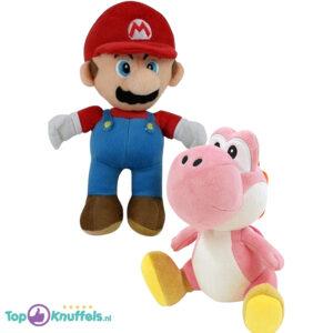 Super Mario + Yoshi Roze Pluche Knuffel Set (30 cm)