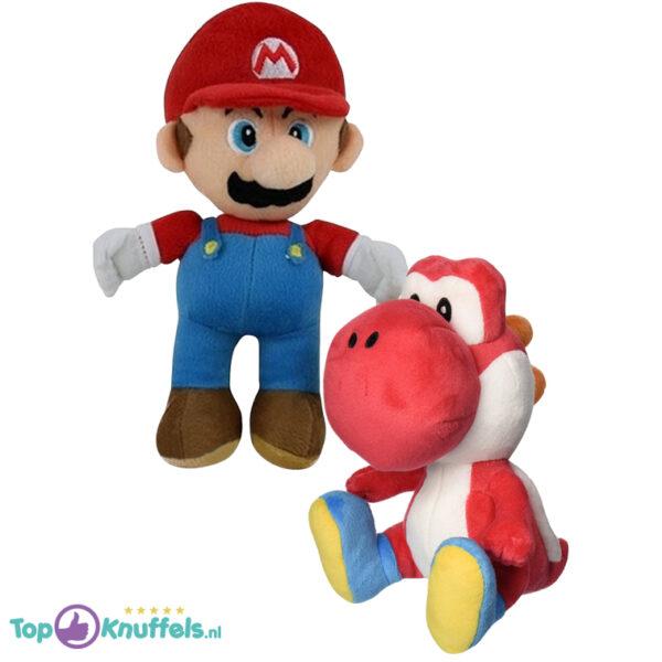 Super Mario + Yoshi Rood Pluche Knuffel Set (30 cm)