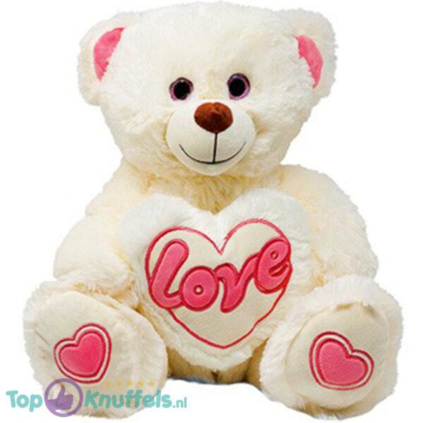Teddybeer met Love Hart (Wit/Roze) 30 cm