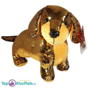 Teckel Hondje Pluche Knuffel Met Glitter Effect (Goud) 30 cm