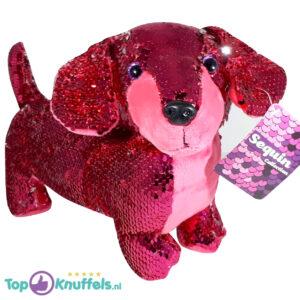 Teckel Hondje Pluche Knuffel Met Glitter Effect (Roze) 30 cm
