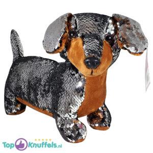 Teckel Hondje Pluche Knuffel Met Glitter Effect (Zilver) 30 cm