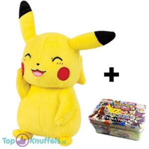 Pokémon Mini Tin + Pokemon Pikachu Pluche Knuffel 20 cm + Pokemon Pikachu Sleutelhanger + 3 Pokémon Stickers!