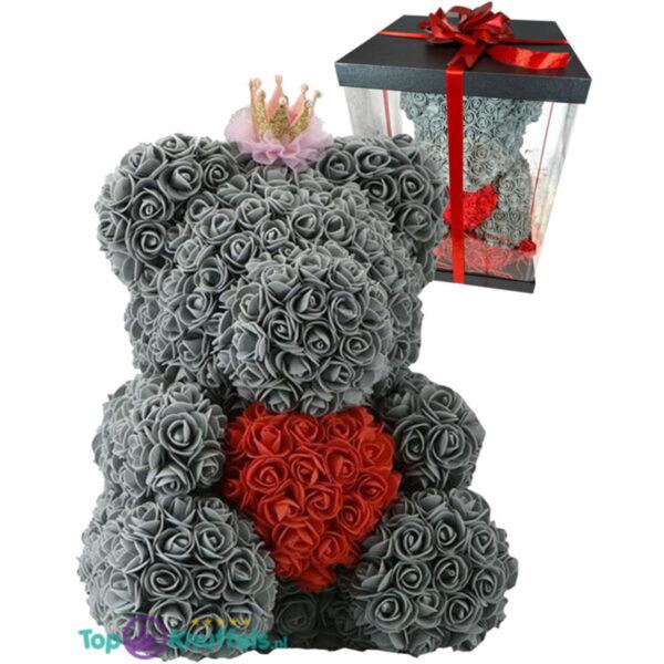 Rozenbeer met Kroon Grijs met Rood Hart 40 cm + Luxe Giftbox Strik