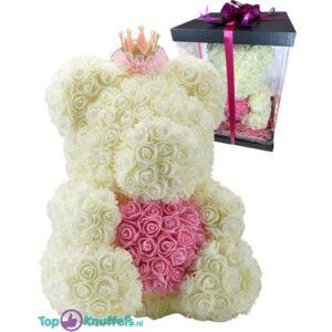 Rozenbeer met Kroon Wit met Roze Hart 40 cm + Luxe Giftbox Strik