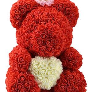 Rozenbeer met Kroon Rood met Wit Hart 40 cm + Luxe Giftbox Strik