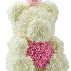 Rozenbeer met Kroon Wit met Rood Hart 40 cm + Luxe Giftbox Strik