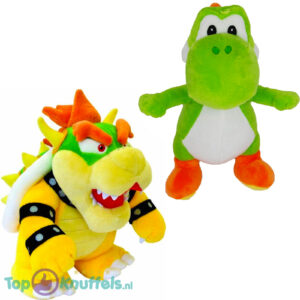 Super Mario Bros Pluche Knuffel Set: Bowser 26 cm + Yoshi 28 cm