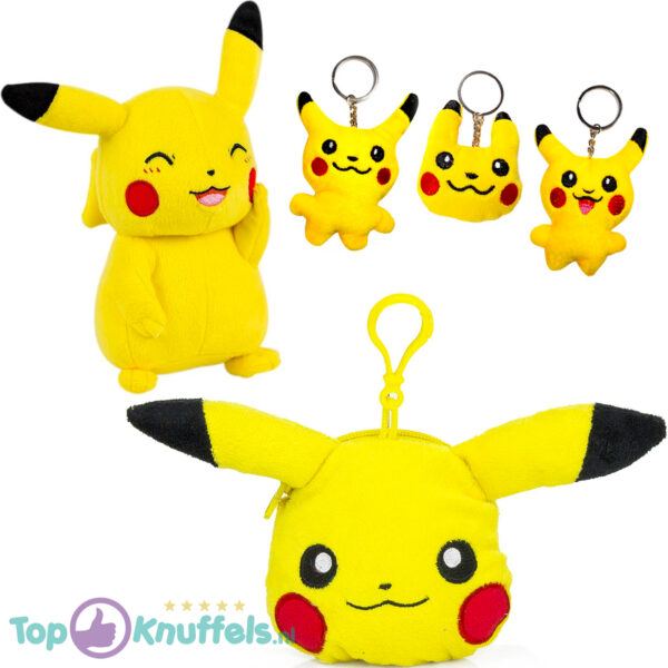 Pokémon Pikachu Pluche Portemonnee + Pokemon Pikachu Pluche Knuffel 20 cm + Willekeurige Pikachu Sleutelhanger!