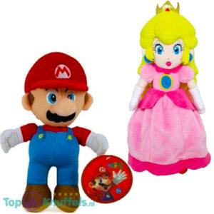 Super Mario Bros Pluche Knuffel Set: Mario + Princess Peach 28 cm
