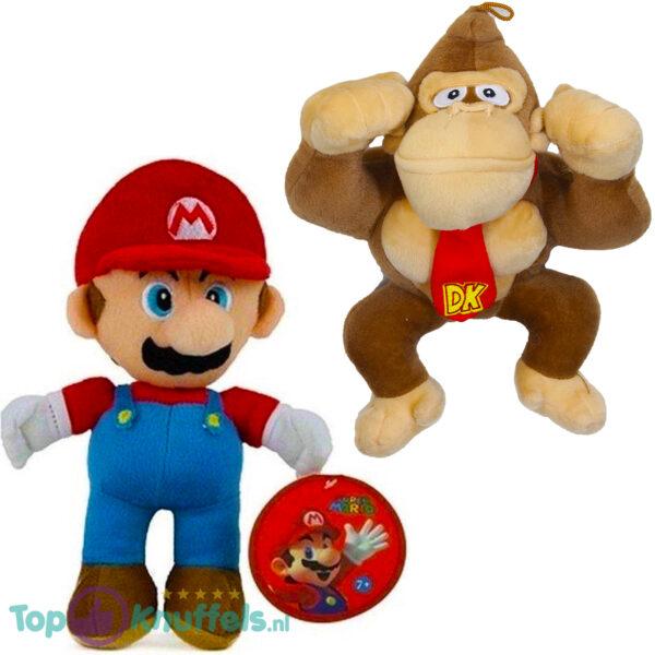 Super Mario Bros Pluche Knuffel Set: Mario + Donkey Kong 28 cm