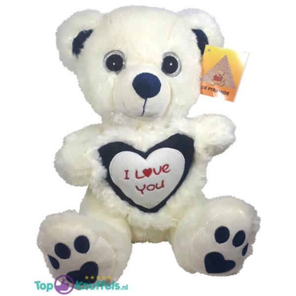 Witte Teddybeer Brutus met Zwart Hart ''I Love You'' 30 cm
