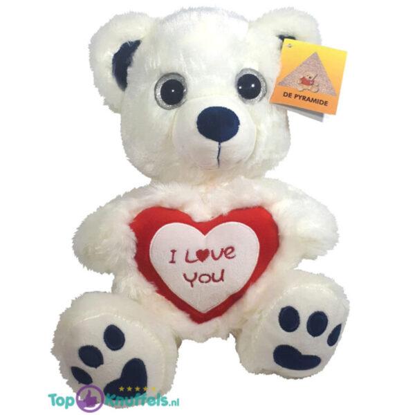 Witte Teddybeer Berry met Rood Hart ''I Love You'' 30 cm