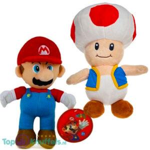 Super Mario Bros Pluche Knuffel Set: Mario + Toad 28 cm