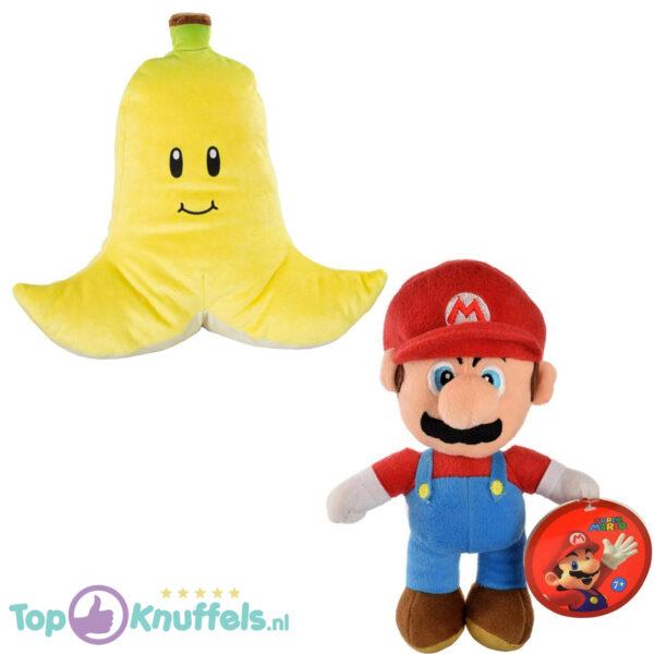 Super Mario Bros Pluche Knuffel Set: Mario + Banana (Banaan) 26 cm