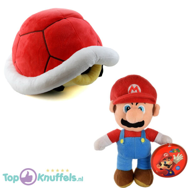 Super Mario Bros Pluche Knuffel Set: Mario + Koopa Schildpad Rood 25 cm