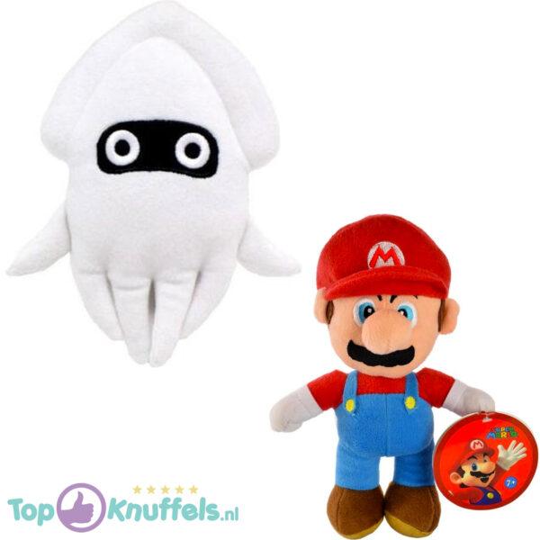 Super Mario Bros Pluche Knuffel Set: Mario + Blooper 26 cm