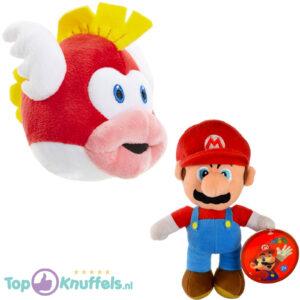 Super Mario Bros Pluche Knuffel Set: Mario + Cheep Cheep Vis 25 cm