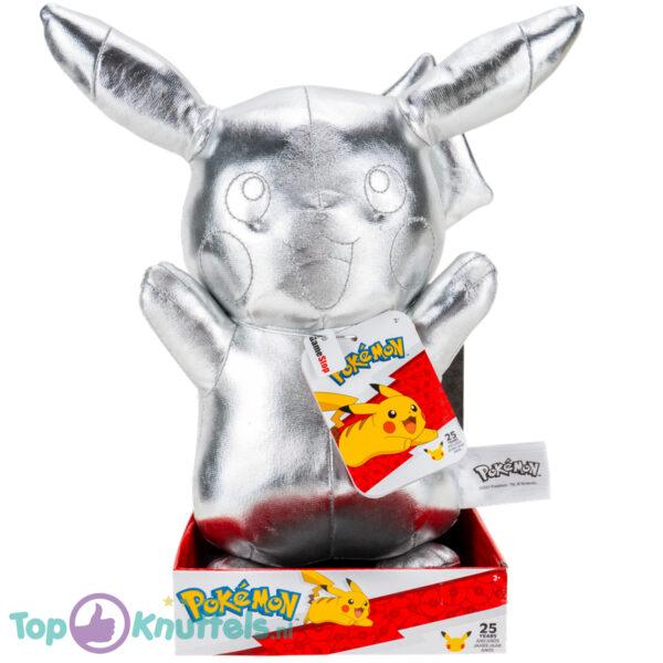 Pikachu Pokémon Zilver Pluche Knuffel 32 cm