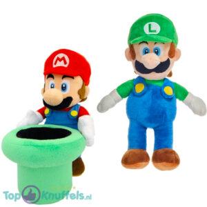 Super Mario Bros met Warp Pipe + Luigi Pluche Knuffel Set 28 cm