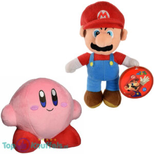 Super Mario Bros 28 cm + Kirby 15 cm Pluche Knuffel Set
