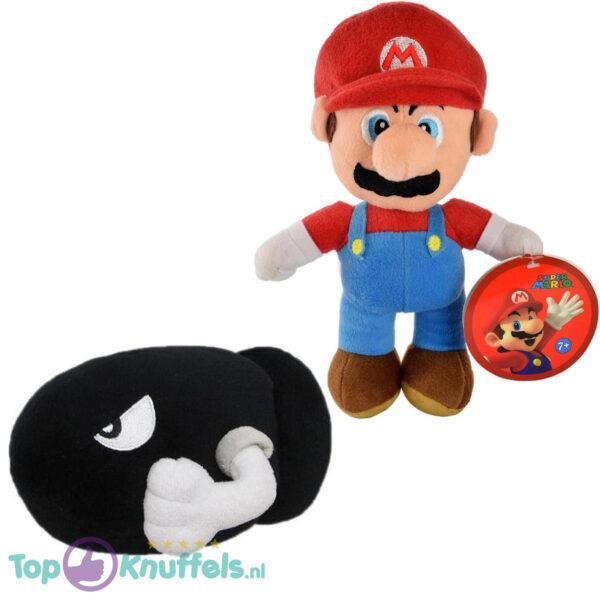 Super Mario Bros 28 cm + Bullet Bill 16 cm Pluche Knuffel Set